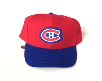 Montreal canadiens vintage snapback stitch on patch Snap back Strapback hat One Size Adult Unisex twill