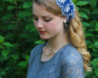 Evintage Veils~ So Soft Headwrap Embroidered Blue & White  Lace Headband Kerchief Tie-style Head Covering Church Veil