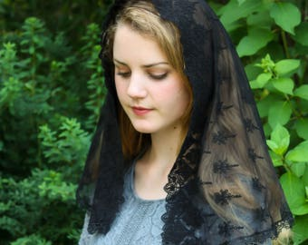 Evintage Veils~ Our Lady Of the Doves Vintage Inspired  Venise Lace Trim Mantilla Chapel Veil Black Veil