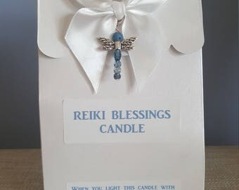 Reiki Blessings Candle with dragonfly charm!