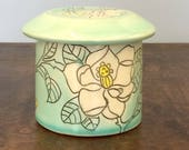 Handmade French Butter Crock with Magnolia Drawing. Glazed in Aqua and Blue. MA7