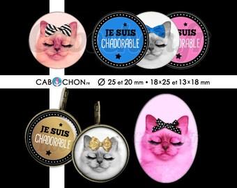 Chadorable • 60 Images Digitales RONDES 25 et 20 mm OVALES 18x25 13x18 mm digital sheet chat cat cabochon cute bijoux noeud or doré mimi