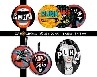 Punk • 60 Images Digitales RONDES 25 et 20 mm OVALES 18x25 13x18 mm rebelle rock punk clash épingle nourrice mediator pick guitare london