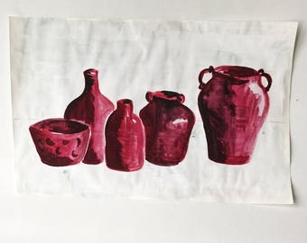 FOR A FRIEND original drawing painting still life on paper magenta pots