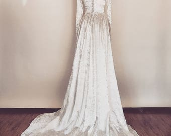 Betrothed Gown | Vintage 1940s embroidered satin wedding dress