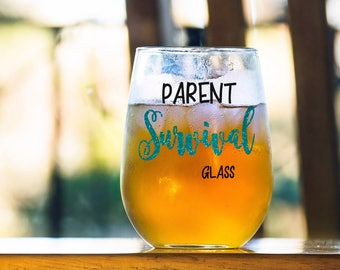 Funny Gift for Parent, Parent Survival Glass, Gift for Mom or Dad, Anniversary Present, Birthday Present, Survival Gift for Mother or Father