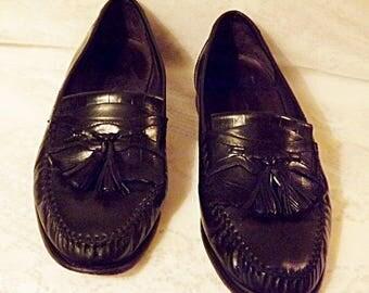 Men's Black Leather Tassel Loafer Size 8 . 5  Johnson Murphy Shoes