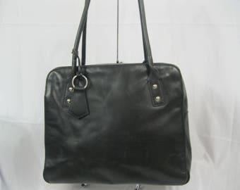 Black Leather Multi Compartment Banana Republic Shoulder Bag