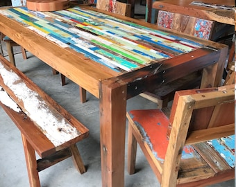 ... Share On Google · Share On Tumblr. Reclaimed Dining Table, Bali Boat  Wood ...