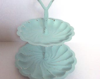 Shabby Chic 2 Tier Metal Serving Tray - Candy Display - Painted Cottage Aqua Mint - Distressed - Jewelry Holder - French Cottage - Farmhouse