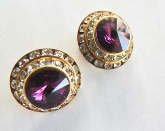 Purple and Clear Rhinestone Clip on Earrings