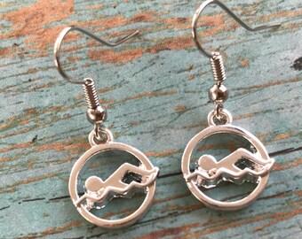 Swimmer Girl Earrings, Swim Earrings, Silver Swim Earrings, Fish Hook Swim Earrings, Swim Gift, Swimmer Gift, Gift for Swimmer