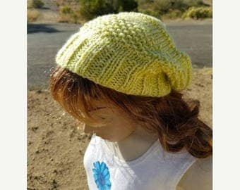 15% OFF SALE Handknitted slouchy hat, Ready to ship, Knitted hat, Knitted beanie, winter hat, Limonade hat, knitted women's hat