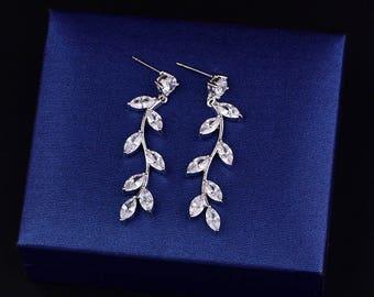 CZ Wedding Leaf Earrings Bridal CZ Earrings Crystal Earrings Wedding Dangle Drop Earrings Teardrop Earrings Wedding Bridal Jewelry 81095