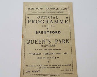 Rare Vintage 1946  Brentford Versus Queen's Park Rangers Football Soccer Programme F A Cup Fifth Round Griffin Park One Sheet