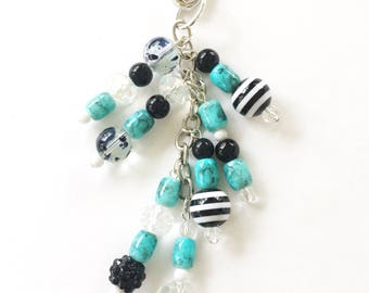 Light blue and black Planner Charm - Planner Accessories, Purse Charm, Zipper Pull, Chunky Travelers Notebook Charm