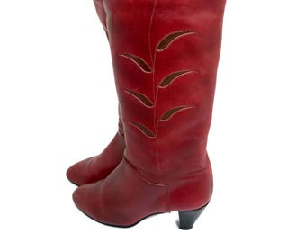 Vintage Burgundy Leather Floral Boots High Heel Boots Size 8