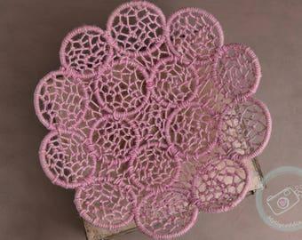 Jute petals woven basket, rope, flower, photography prop, newborn prop, natural jute, organic prop, Pink, pink jute, basket prop