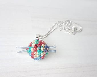 Ball of yarn with mini knitting needles -  pendant and chain, gift for knitters, unique jewelry