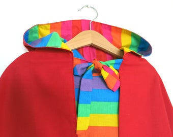 Rainbow Little Red Riding Hood, reversible Play Cape