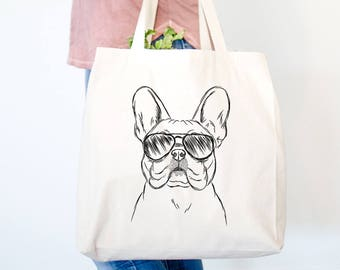 Franco the French Bulldog Tote Bag - Gifts For Dog Owner, Dog Lover Bag, French Bulldog Tote, Frenchie Bag, Dog Wearing Sunglasses