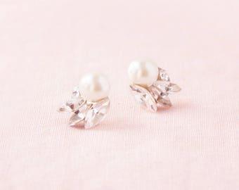 Starlight Pearl & Crystal Earrings, Studs, Wedding Earrings, Bridal Earrings, Cluster Earrings, Crystal Earrings, Pearl Earrings, Pearl Stud