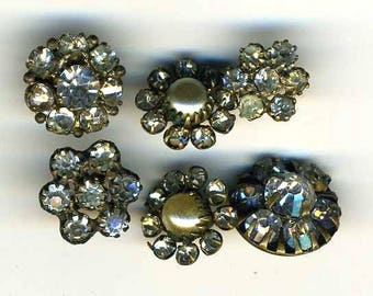 Vintage Buttons 6 Different Rhinestone
