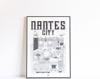 Illustration of Nantes City - series * Travel With Me *. Black and white. 21 x 29.7 cm