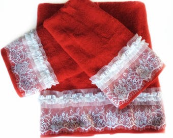 Pink Decorative Towel Set Of Pink Bathroom Decor Powder - Red decorative towels for small bathroom ideas