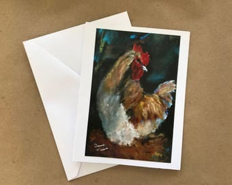 Rooster note card, Chicken Notecard
