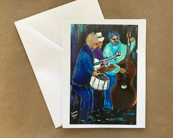 Jazz Band  Blank  Note Card