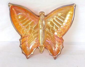 Vintage Jeanette Glass Company Marigold Butterfly Dish, Vintage Pressed Marigold Glass, Butterfly Glass Dish