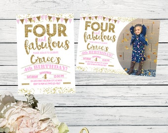 Four & Fabulous 4th Birthday invitation - Girls Pink and Gold glitter ***Digital File*** (Four-buntingpic 2017)