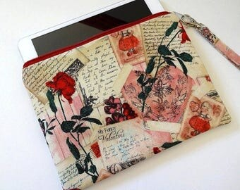 iPad mini Zipper Wristlet, Zipper Pouch, Bridesmaid Gift, Wristlet Clutch, Cosmetic Bag, Makeup Bag - 50x4 Selections, Floral, Dot, Flower