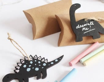DIY Chalkboard Christmas Dinosaur Tree Decoration - Perfect for kids, stocking filler, table present