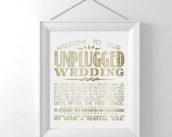 70% OFF THRU 8/26 ONLY Unplugged Wedding Sign, Unplugged Ceremony Sign, Gold Wedding Signs, Unplugged Wedding, Unplugged Sign, 8x10, No Cell