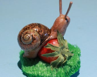 Snail on a strawberry, hairclip