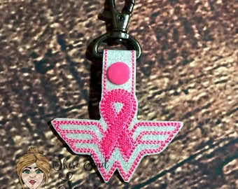 Breast cancer key fob/cancer survivor/key chain/breast cancer/wonder woman/cancer ribbon/cancer support/pink ribbon/race for the cure/bagtag
