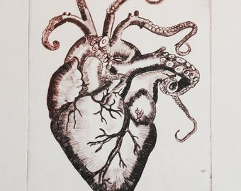 heart octopus original artwork drypoint print