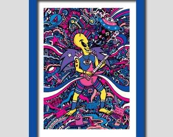 "Rockstar Alien / A4 Art Print / 8 x 11"". Alien Art. ET Art. Rockstar Art. Funky Art Print. Wall Art. Home Decor. Music Print. Funny Art."