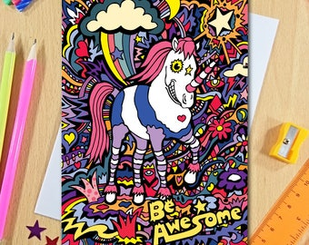 Birthday Card, Unicorn Card, Funny Card, Girlfriend Card, Card For Her, Greeting Card, Teen Girl Card, Wife Card, Girls Card, Cute Card.
