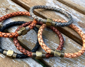 Mens Leather Bracelet With Brass Magnetic Clasp, Mens Bracelet, Braided Bolo Leather, Gifts under 20 CS-17