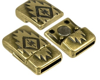 Antique Bronze Magnetic Clasps for 10 mm Flat Leather - Southwest Spirit Clasp - Antique Silver or Antique Bronze Strong Magnetic Clasp MC2