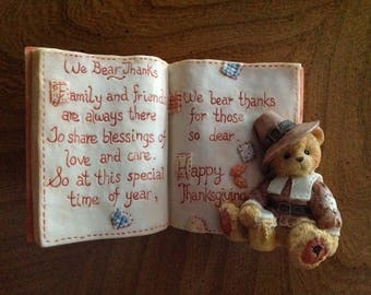 SALE Enesco Cherished Teddies #651427 in Box, We Bear Thanks, Thanksgiving Collectible, 1994 Priscilla Hillman