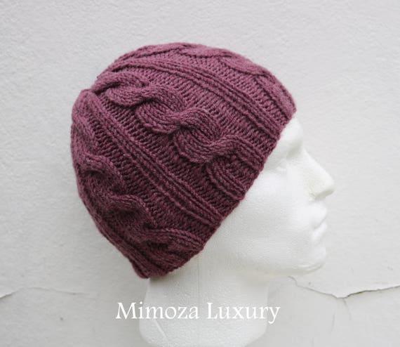 Dark Dusky Pink Men's Beanie hat, Hand Knitted Hat in mauve rose beanie hat cap, knitted men's, women's beanie hat, winter beanie, ski hat