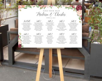 Customized Printed Wedding Seating Chart   Seating Chart Poster   Burgundy   Flowers   Printed   Digital   Personalized Seating Chart