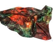 Silk Scarf, Women Shawl, Silk Shawl, Light Wrap Scarf, Hand Dyed Scarf,  Multicolour Silk Scarf, Gift for Her, Eco Fashion/f80/  - Feltmondo