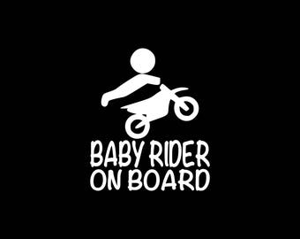 Baby Rider On Board Decal Dirt Bike Decal Dirt Biking Kid On Board Car Decal Baby On Board Car Decal Window Decal Wall Decal Laptop Tablet