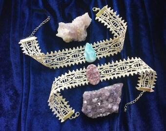 Lace Crystal Chokers, Larimar Choker, Lepidolite Choker