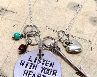 "Disney Pocahontas Inspired Hand-Stamped Necklace - ""Listen With Your Heart"""